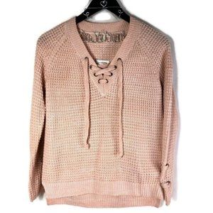 It's Our Time VNeck Drawstring Waffle Knit Sweater